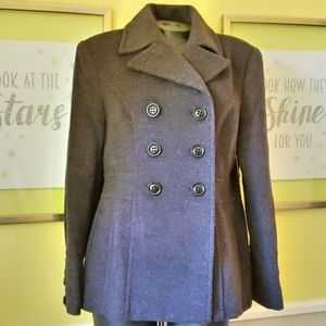 Double Breasted Wool Blend Fitted Winter Pea Coat